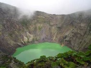 Irazu Volcano of Cartago Province of Costa Rica.  Active Volcano with 3 craters and one green crater lake.