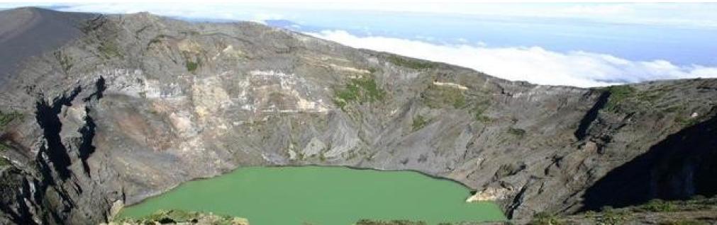 Irazu Volcano Crater Lake in Cartago Costa Rica